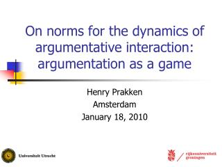 On norms for the dynamics of argumentative interaction: argumentation as a game