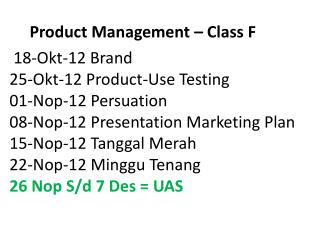 Product Management  – Class F