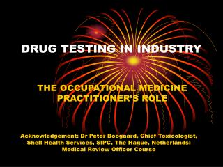 DRUG TESTING IN INDUSTRY
