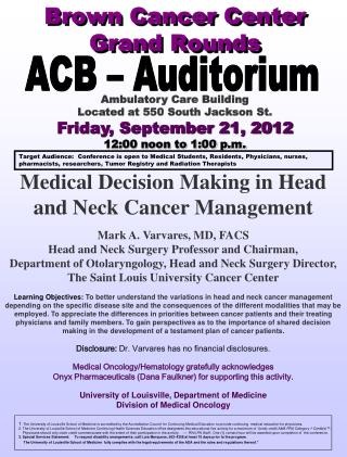 Brown Cancer Center Grand Rounds