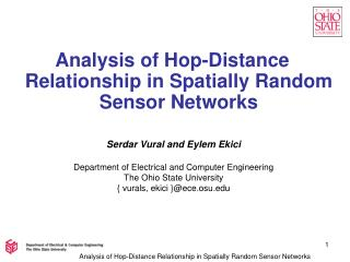 Analysis of Hop-Distance Relationship in Spatially Random Sensor Networks