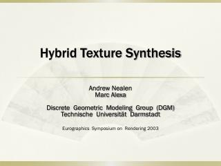 Hybrid Texture Synthesis