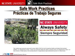 Safe Work Practices Prácticas  de  Trabajo Seguras
