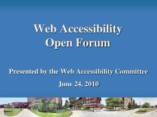 Web Accessibility  Open Forum