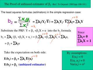 The Proof of unbiased estimator of   2  (Ref. To Gujarati (2003)pp.100-101)
