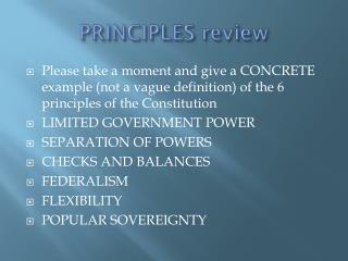 PRINCIPLES review