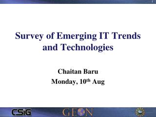 Survey of Emerging IT Trends and Technologies