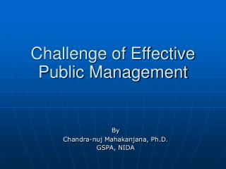 Challenge of Effective Public Management