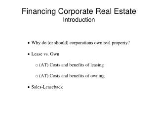 Financing Corporate Real Estate Introduction