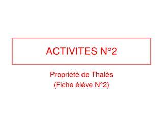 ACTIVITES N°2
