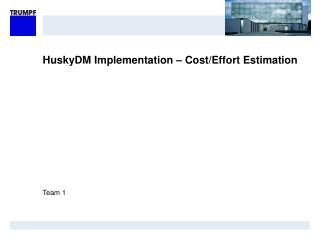 HuskyDM Implementation – Cost/Effort Estimation