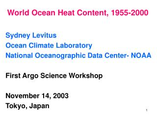 World Ocean Heat Content, 1955-2000