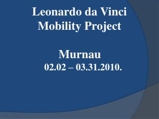 Leonardo da Vinci Mobility Project