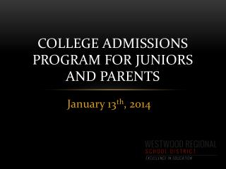 College Admissions Program for Juniors and Parents