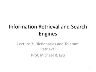 Information  Retrieval and  Search  Engines