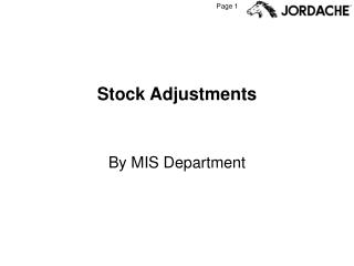 Stock Adjustments