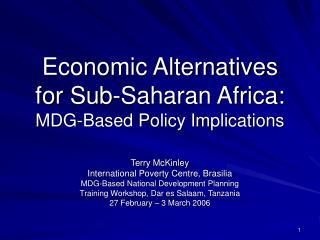 Economic Alternatives  for Sub-Saharan Africa: MDG-Based Policy Implications