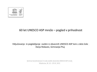 60 let UNESCO ASP mreže – pogled v prihodnost