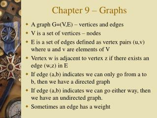 Chapter 9 � Graphs