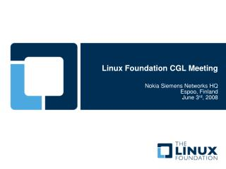 Linux Foundation CGL Meeting