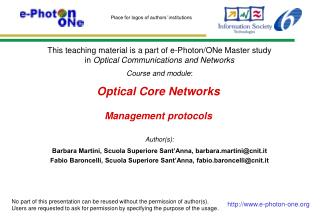 Optical Core Networks Management protocols