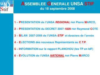 A SSEMBLEE  G ENERALE  UNSA - STIF du 18 septembre 2008