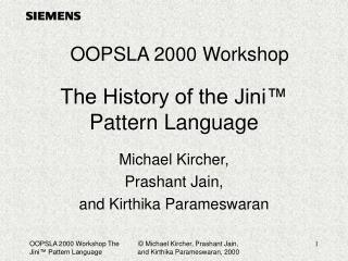 The History of the Jini  Pattern Language