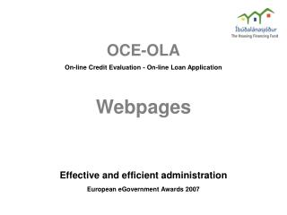 OCE-OLA On-line Credit Evaluation - On-line Loan Application Webpages