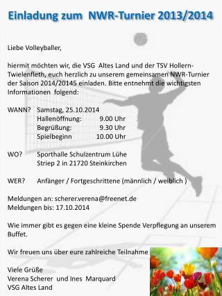Einladung zum  NWR-Turnier 2013/2014