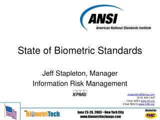 State of Biometric Standards