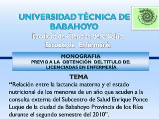 UNIVERSIDAD  T�CNICA DE BABAHOYO