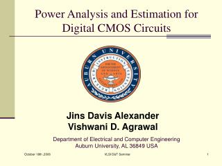 Power Analysis and Estimation for              Digital CMOS Circuits