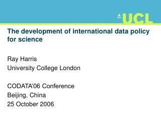 The development of international data policy for science