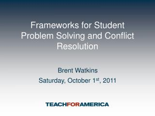 Frameworks for Student Problem Solving and Conflict Resolution