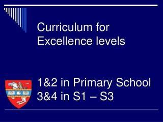 Curriculum for Excellence levels 1&2 in Primary School  3&4 in S1 � S3
