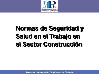 Normas de Seguridad y Salud en el Trabajo en el Sector Construcción