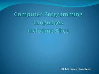 Computer Programming Languages  Including Alice