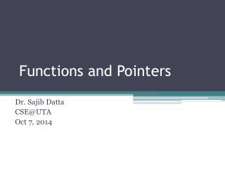 Functions and Pointers