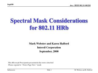 Spectral Mask Considerations for 802.11 HRb