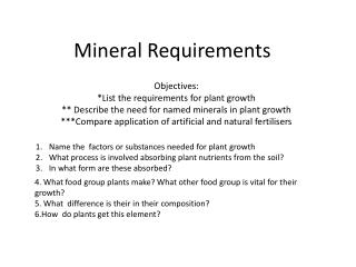 Mineral Requirements