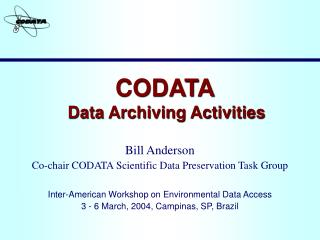 CODATA  Data Archiving Activities