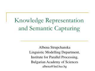 Knowledge Representation and Semantic Capturing