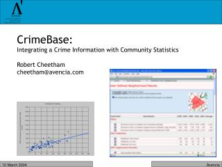 CrimeBase:  Integrating a Crime Information with Community Statistics Robert Cheetham
