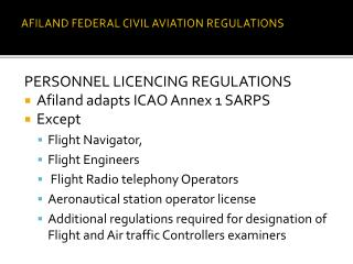 AFILAND FEDERAL CIVIL AVIATION REGULATIONS