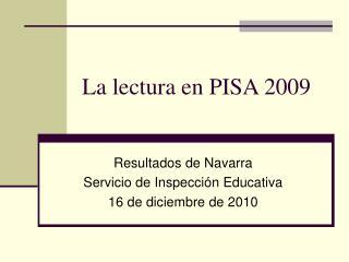 La lectura en PISA 2009