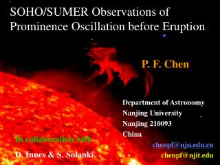 SOHO/SUMER Observations of  Prominence Oscillation before Eruption