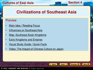 Preview Main Idea / Reading Focus Influences on Southeast Asia Map: Southeast Asian Kingdoms