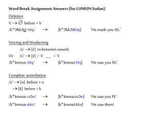Word Break Assignment Answers (for LUMUN Sudan)ː Deletion V      before + V