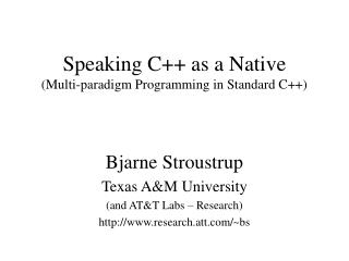 Speaking C++ as a Native (Multi-paradigm Programming in Standard C++)