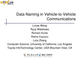 Data Naming in Vehicle-to-Vehicle Communications